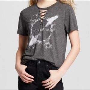"Modern Lux ""Lets Get Lost"" Lace Up Neck T-Shirt"